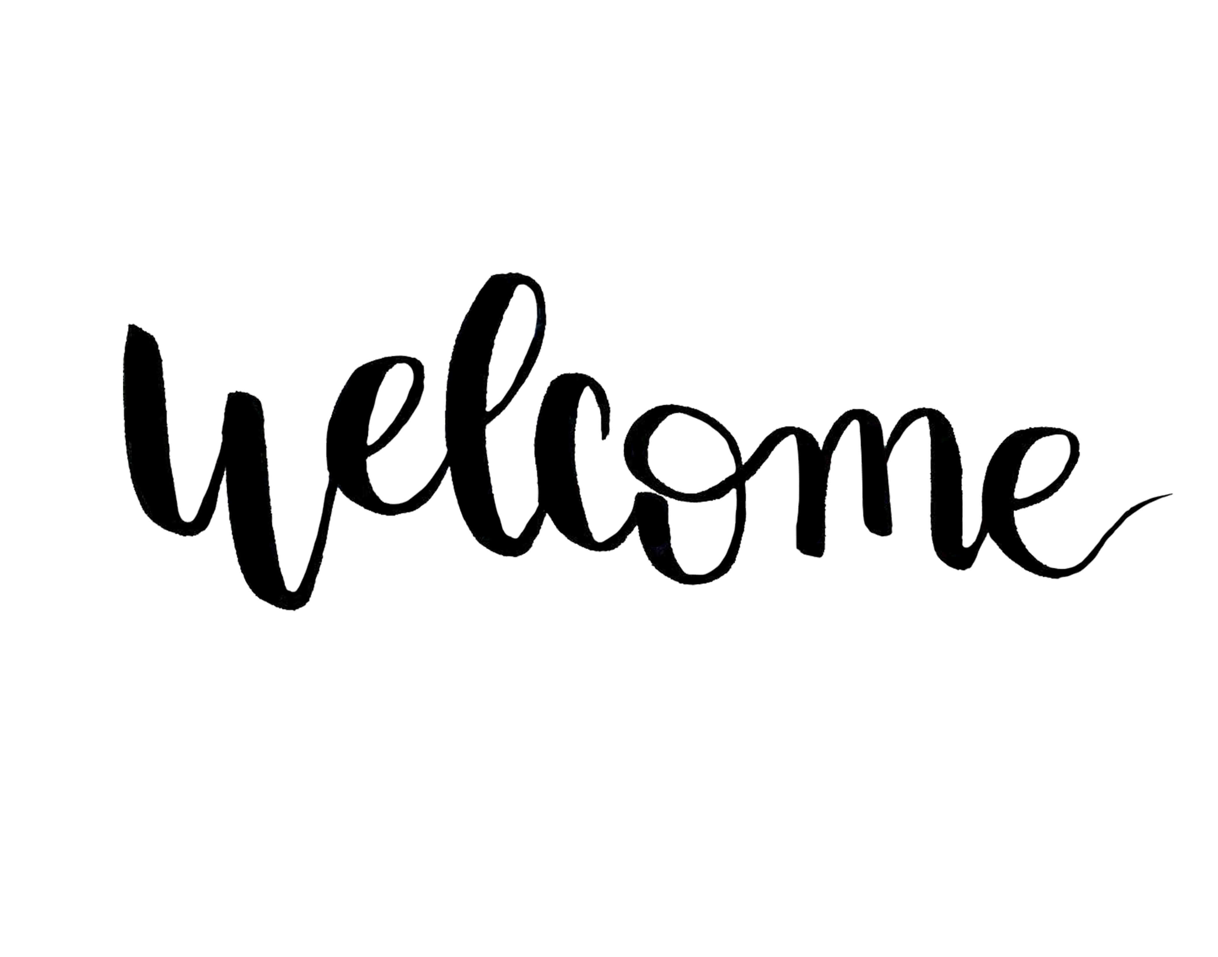 welcome hand-lettered print